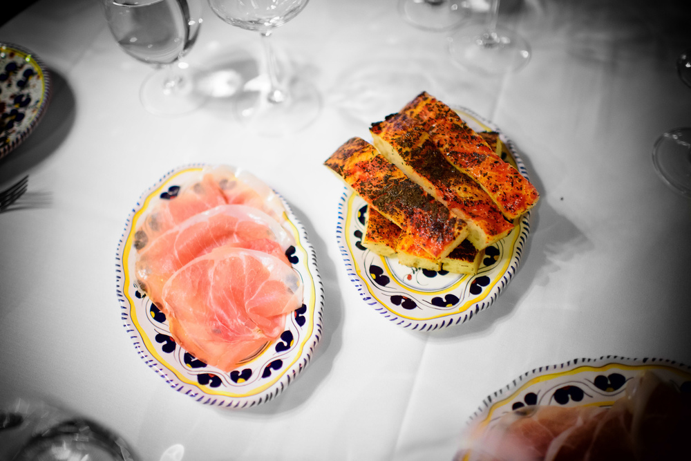 """Grandma's bread"" focaccia, house-cured ham"