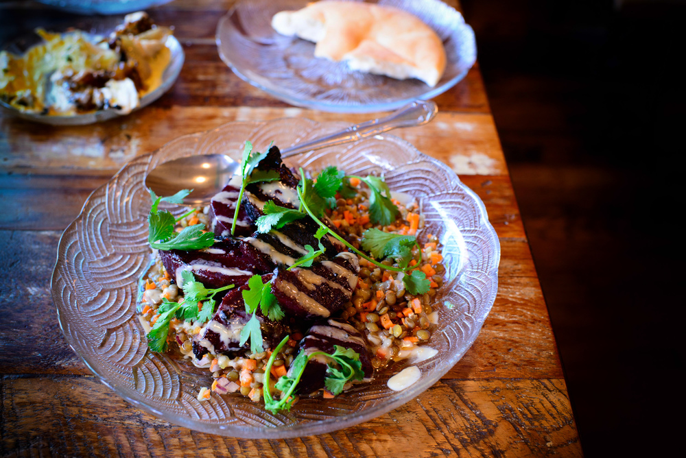 Charred beet and lentil salad, tahini, date-honey sauce ($11)