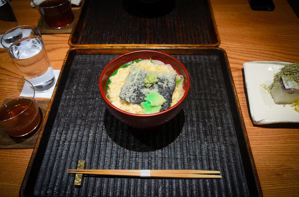 Yuba nyumen - yuba, kaede-fu, nori, scallion, wasabi