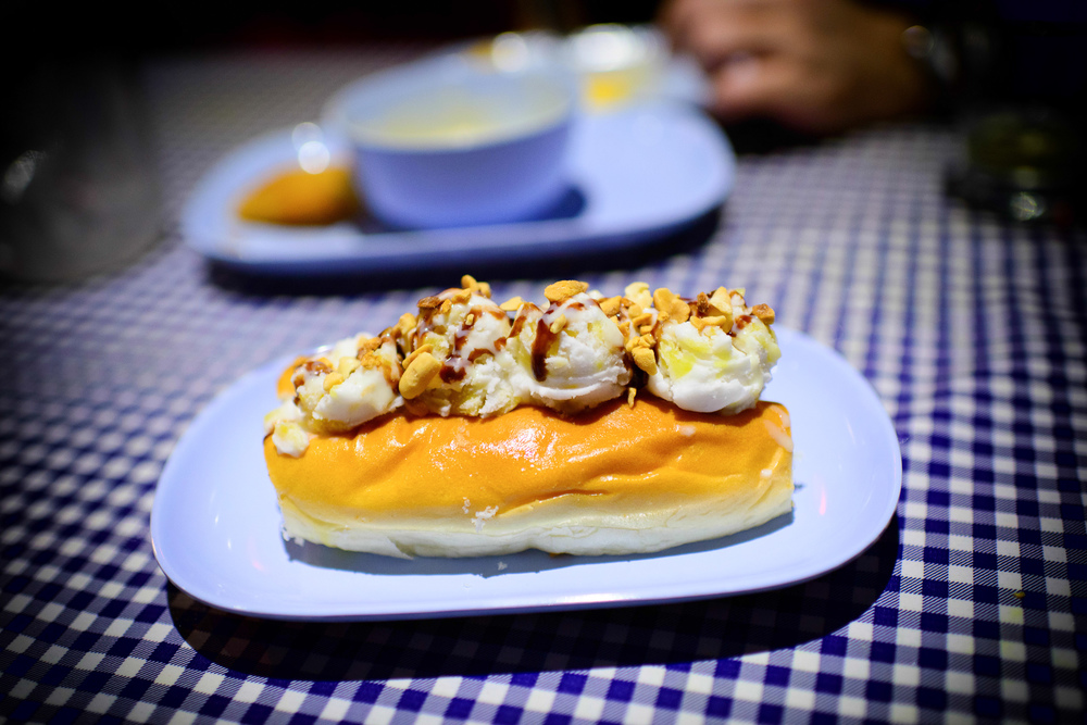 Coconut ice cream sandwich - sweet hot dog bun, sticky rice