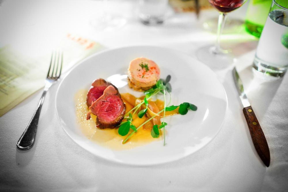 7th Course: Squab, foie gras, rhubarb, espelette