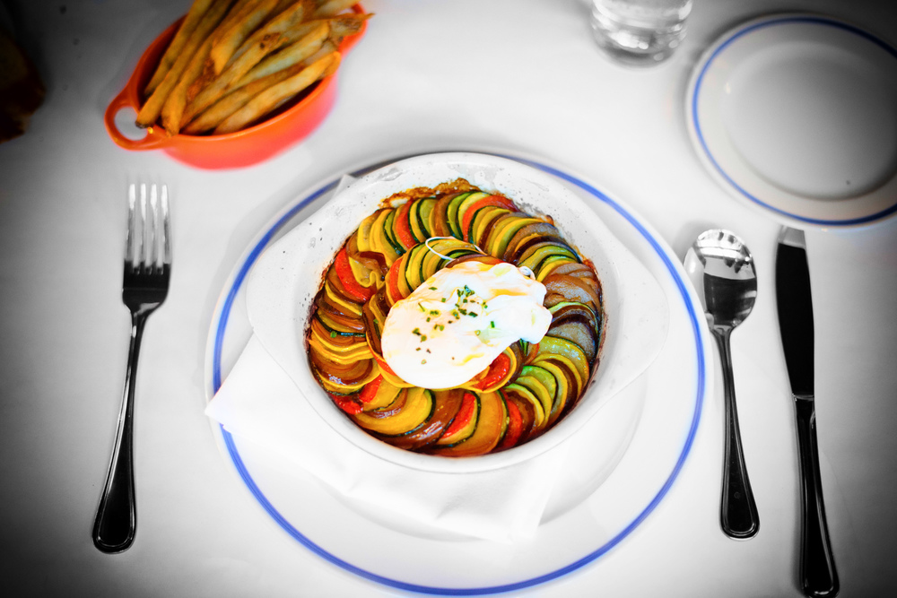 Ratatouille - oven-dried tomatoes, Japanese eggplant, soft-poach