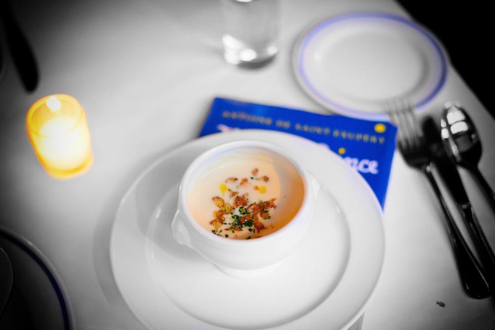 Crème de chou-fleur - cauliflower soup, olive oil ($9)