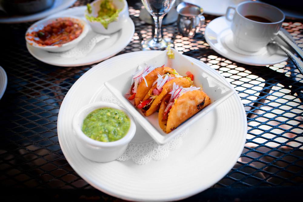 Tacos Dorados de Papa: crispy potato tacos with avocado tomatill