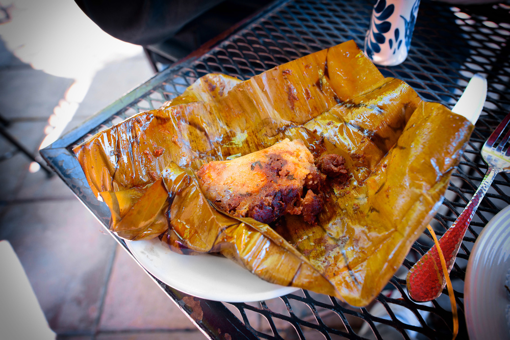 Tamales de Mariscos: spicy crawfish; catfish with roasted tomato