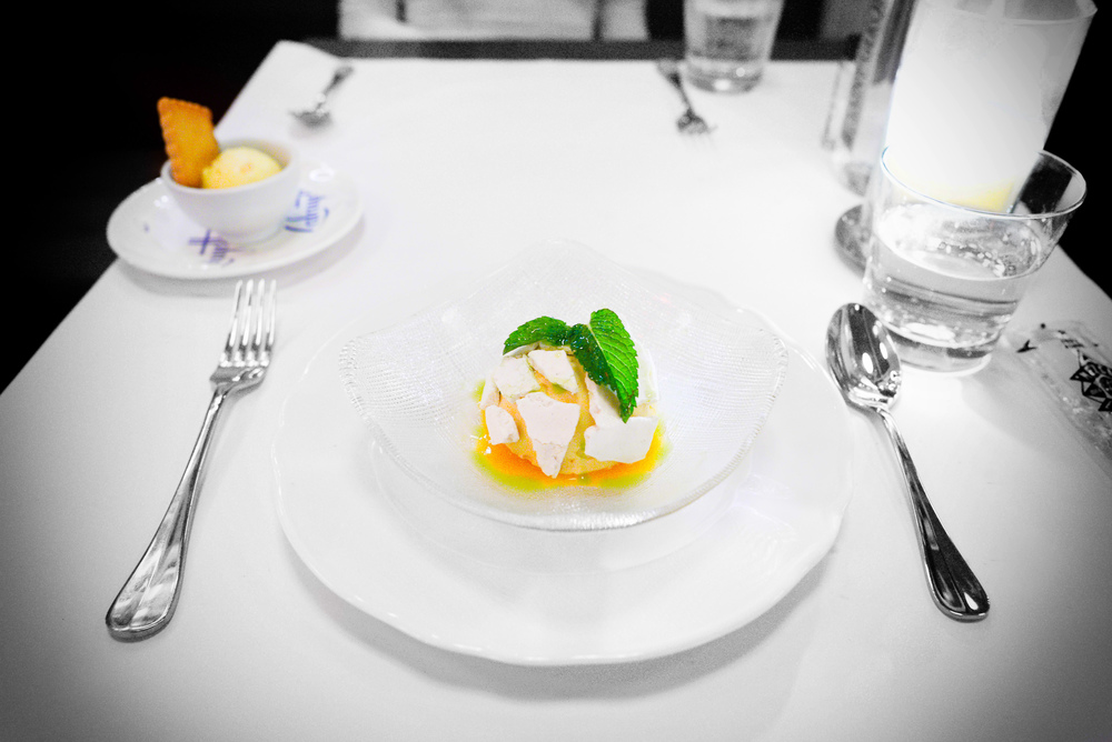 Burnt honey vacherin; apricot, cardamom, and mint ($10)