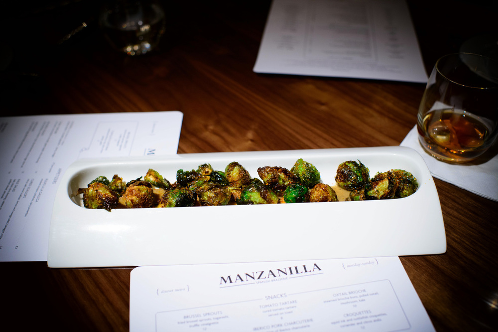 Brussel sprouts: fried brussel sprouts, togarashi, truffle vinai