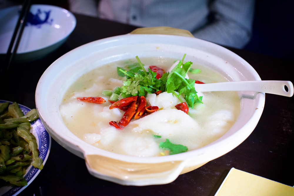 Chongqing braised fish in white soup, tilapia with boo choi and