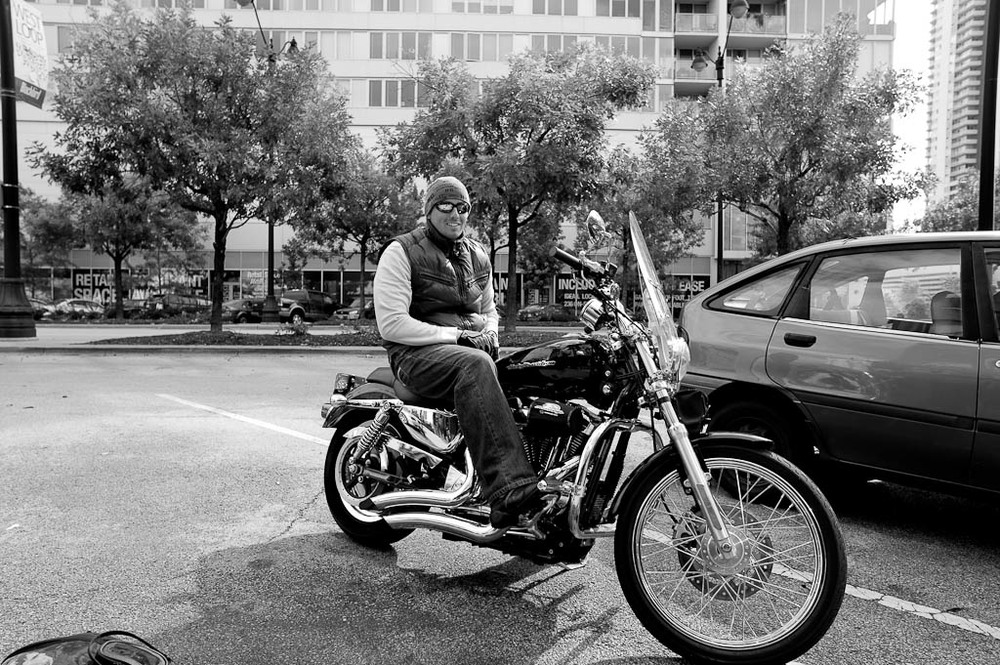 Chef Curtis Duffy on Motorcycle