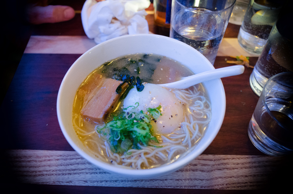 Suzume ramen, braised berkshire pork belly, scallion, poached or