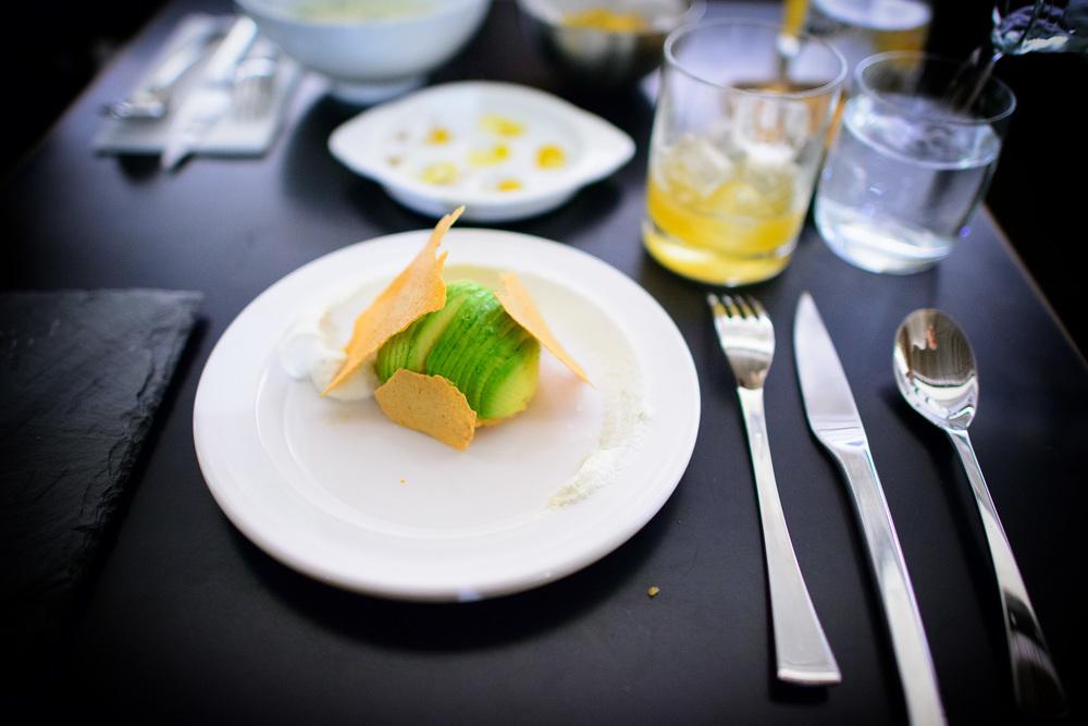 Salmon tartare, avocado, horseradish cream, risotto