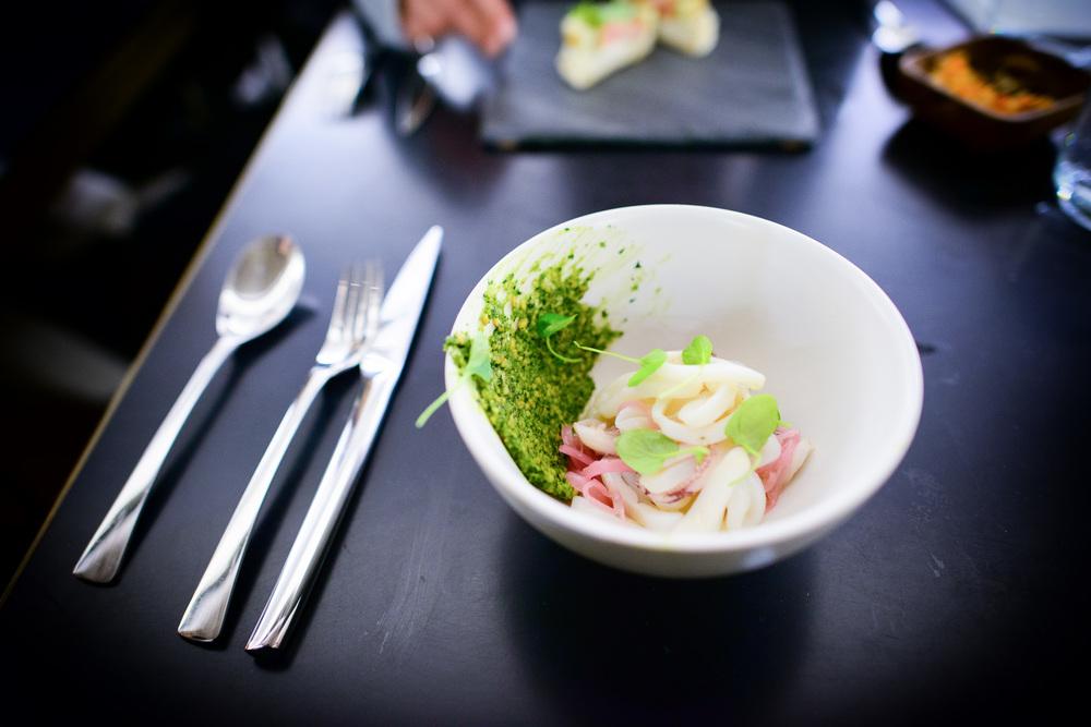 Squid salad, cashew potato, watercress, red onion