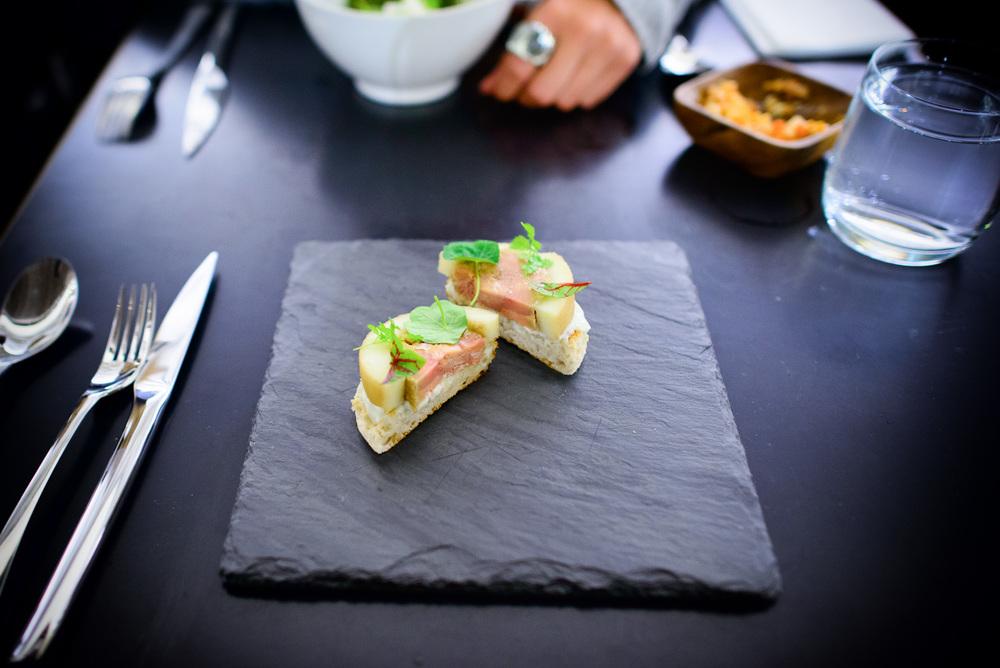 Foie gras terrine, poached apple, chartreuse yogurt, english muf