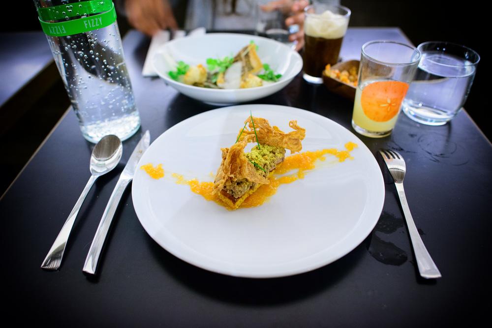 Chicken liver toast, cornbread, grapefruit marmalade, chicken sk