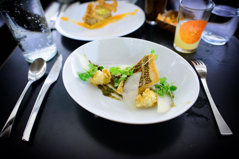 Black bass, nori salsa verde, asian pear, jasmine rice
