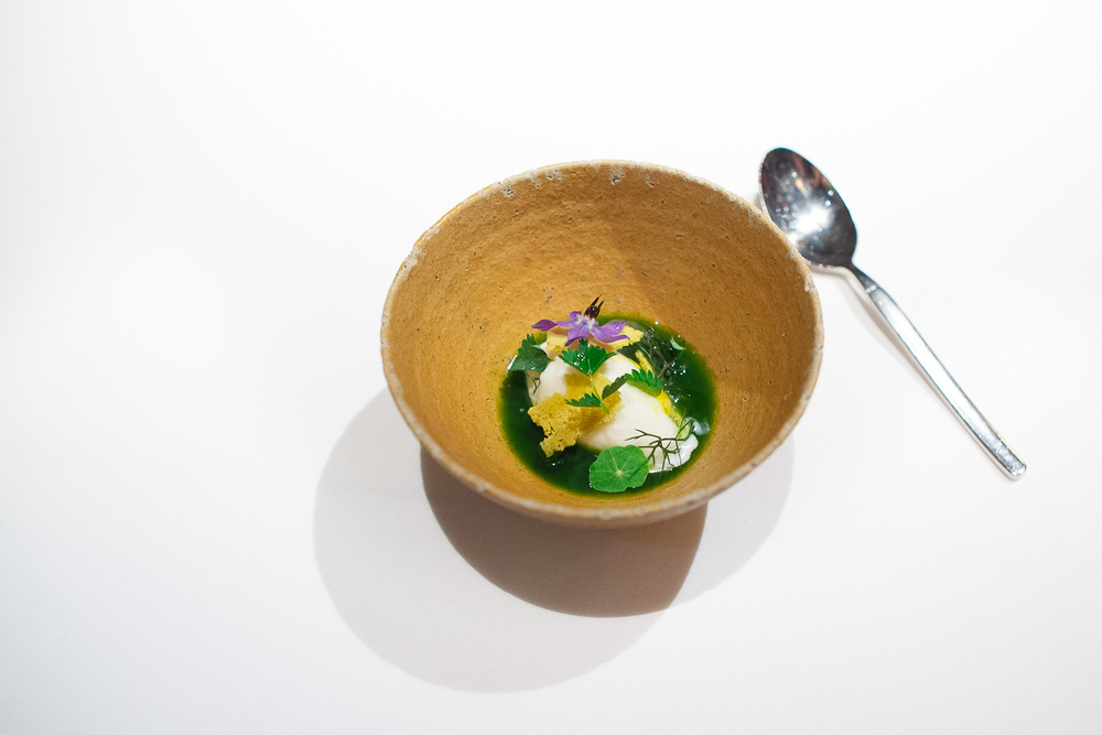 18th Course: Buttermilk sorbet and herb jus