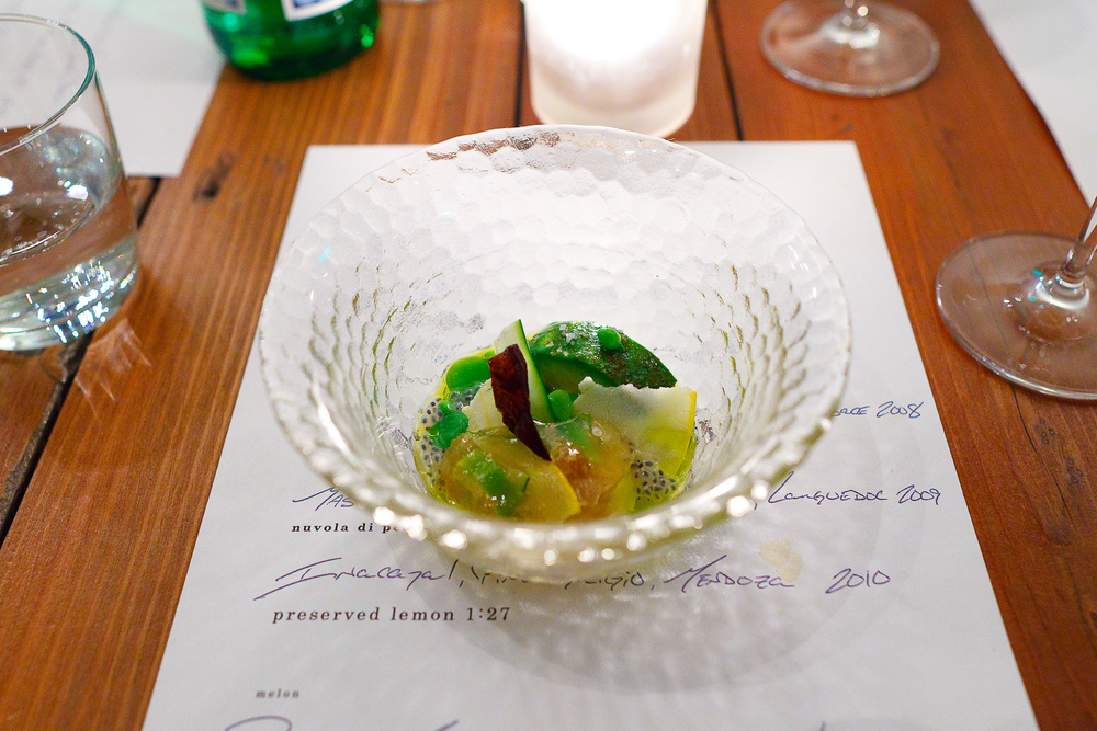 3rd Course: Vegetable aspic - Fava beans, peas, zucchini & squash, eggplant roasted over the fire & a crispy chip of the skin, avocado