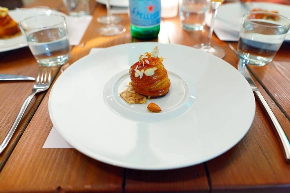 6th Course: Nuvola di percora - Warm nuvola di pecora piped into a freshly baked brioche with honeycomb.