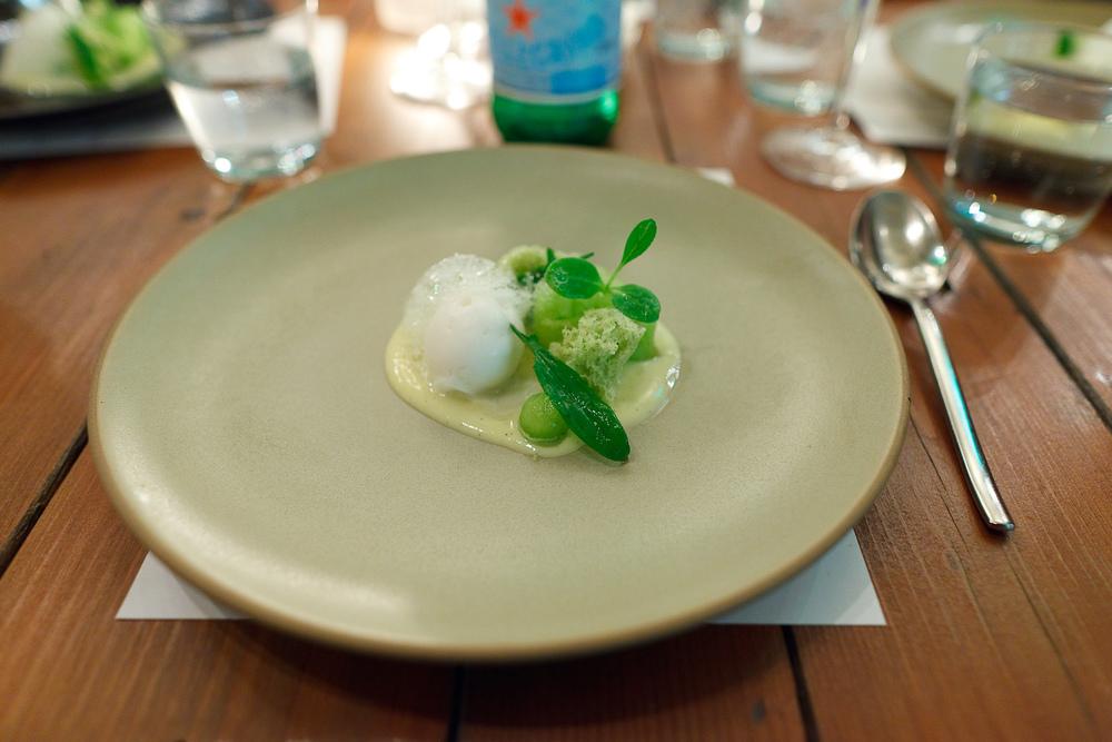8th Course: Melon, sparkling vanilla sorbet, shiso cake