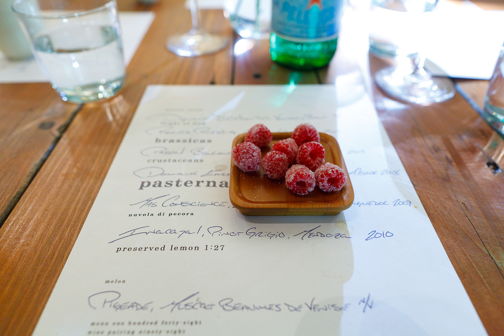 Petits fours: candied raspberries