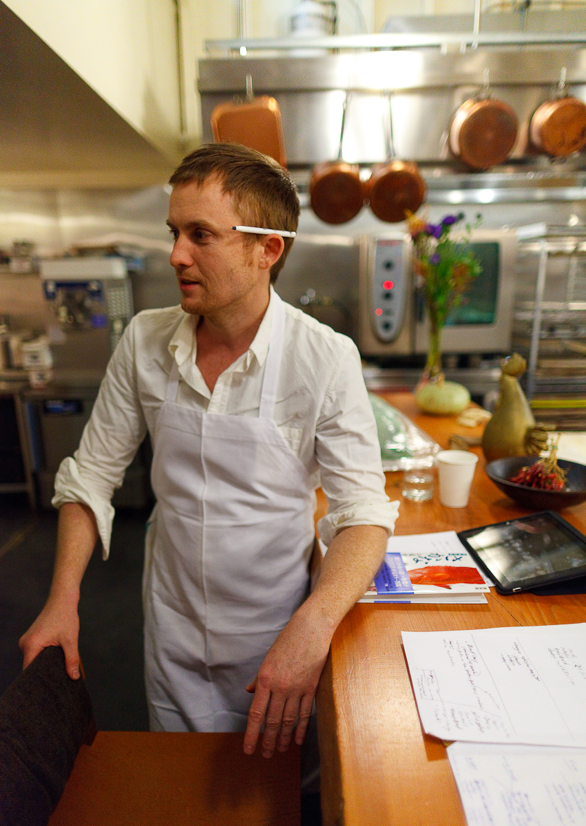 Portrait of Chef Joshua Skenes with Japanese Fish Identification Book