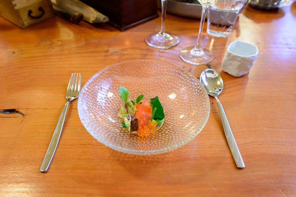 10th Course: Wild nettles, Pacific king salmon (cured and smoked