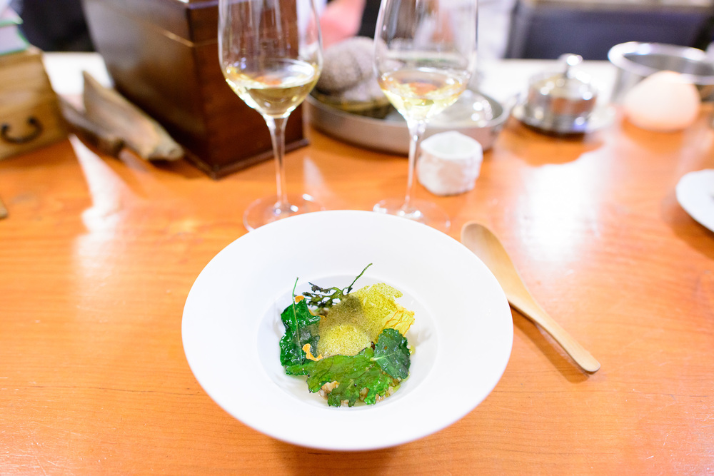 17th Course: Brassicas. Quail egg, stew of toasted grains (emmer