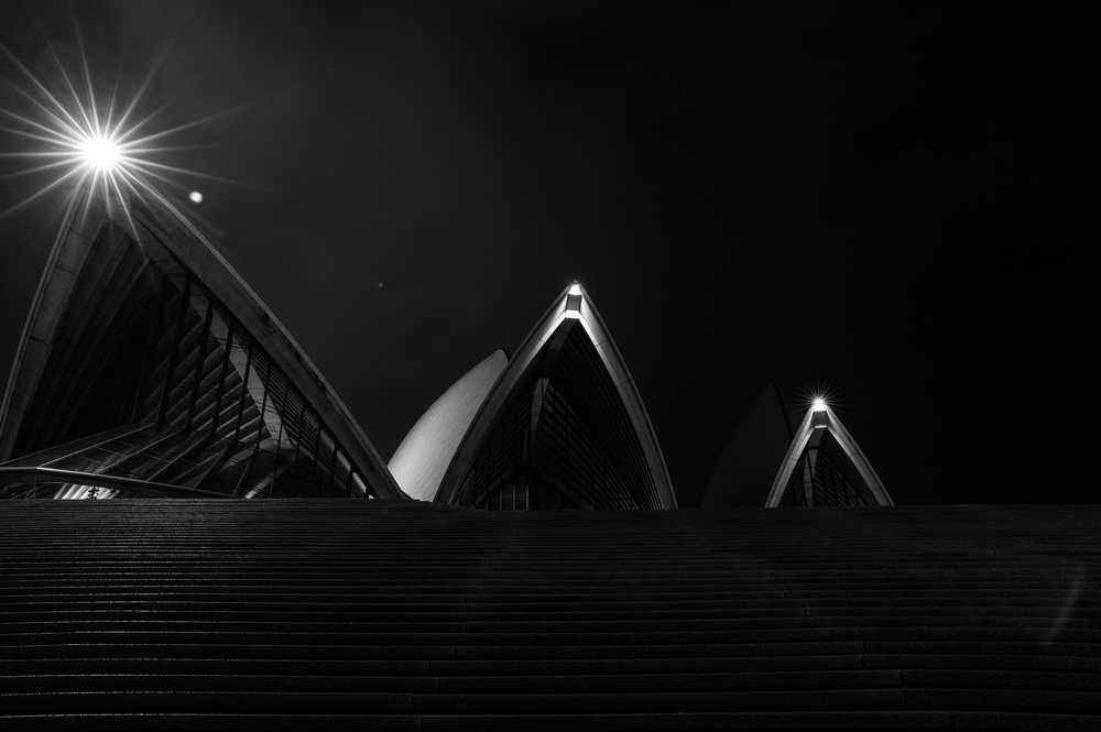 Sydney Opera House, Front, Black and White, 2013