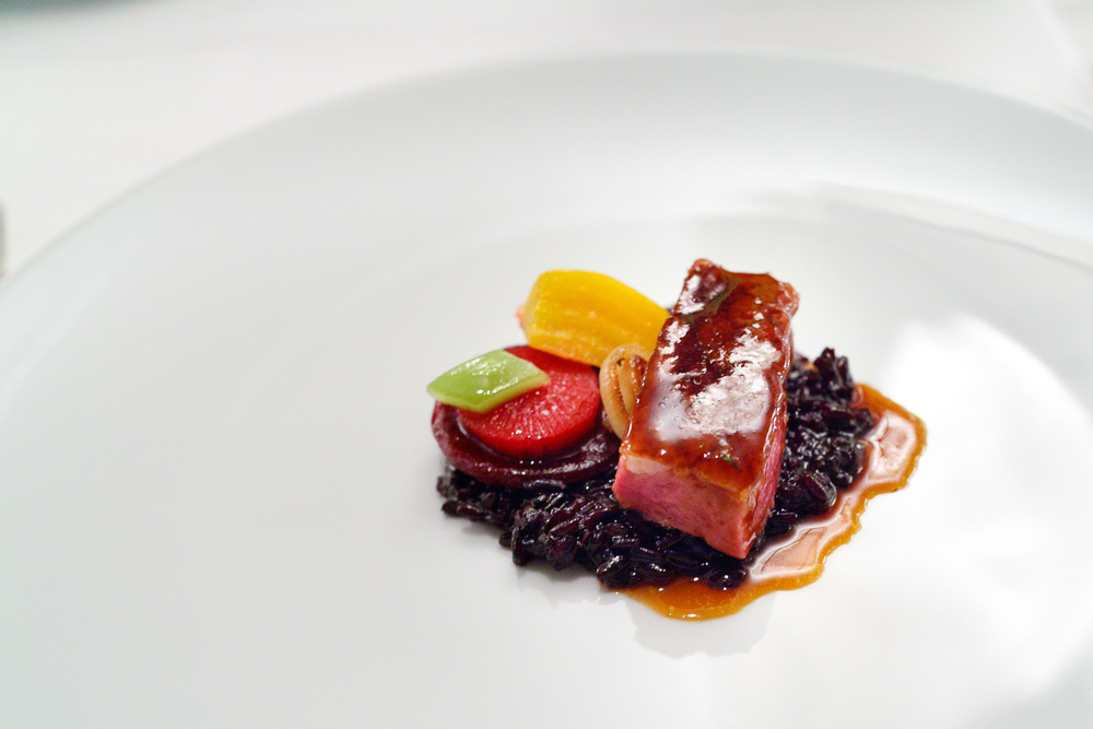 7th Course: Duck breast, Chinese rice, colorful beets