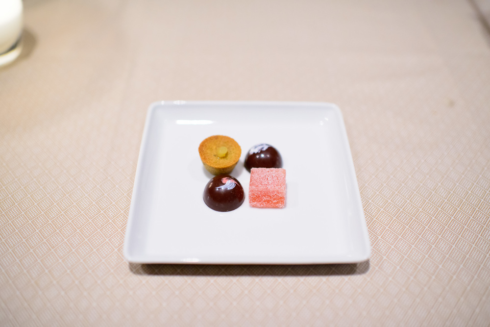 Petits fours - olive oil cake, grapefruit pâte de fruit, chocol