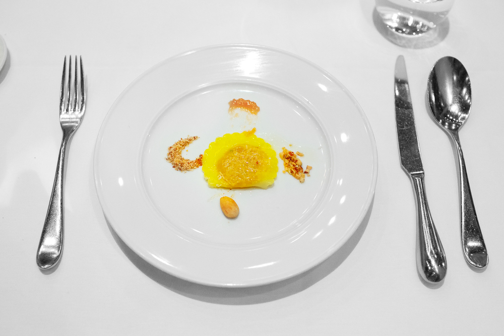 5th Course: Ravioli - kabocha squash, quince mostarda, and almond