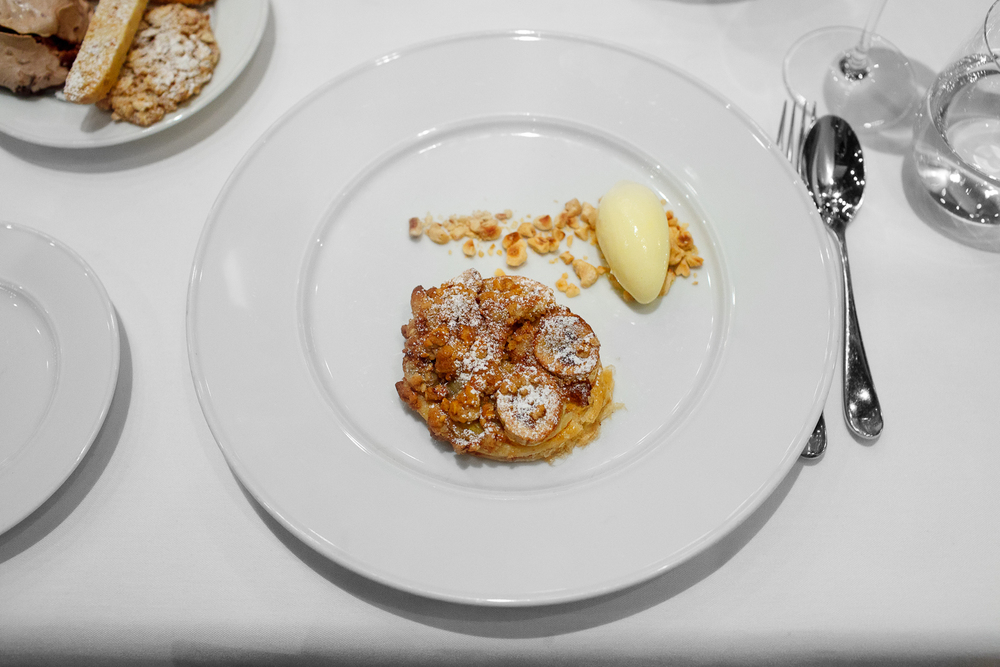 8th Course: Sfogliata - house-made puff pastry, brown butter-hazelnut frangipane, banana hazelnut crumble, custard gelato
