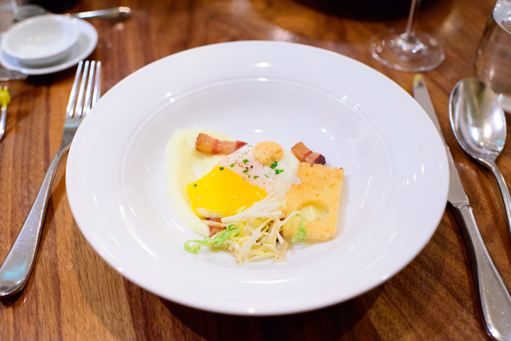 """Uovo"" - slow-cooked egg, house-made pancetta, soft potato and c"