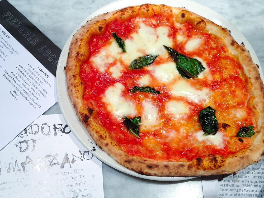 Pizza margherita - mozzarella di bufala, san marzano tomatoes, basil ($13)