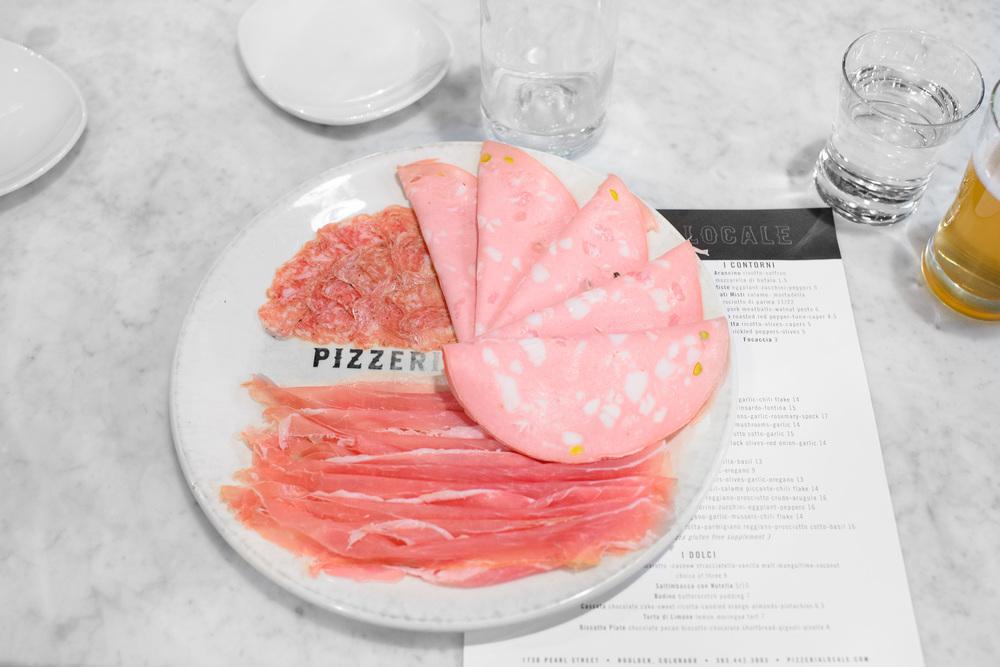 Affetatti misti: salame, mortadella (with pistachio), prosciutto