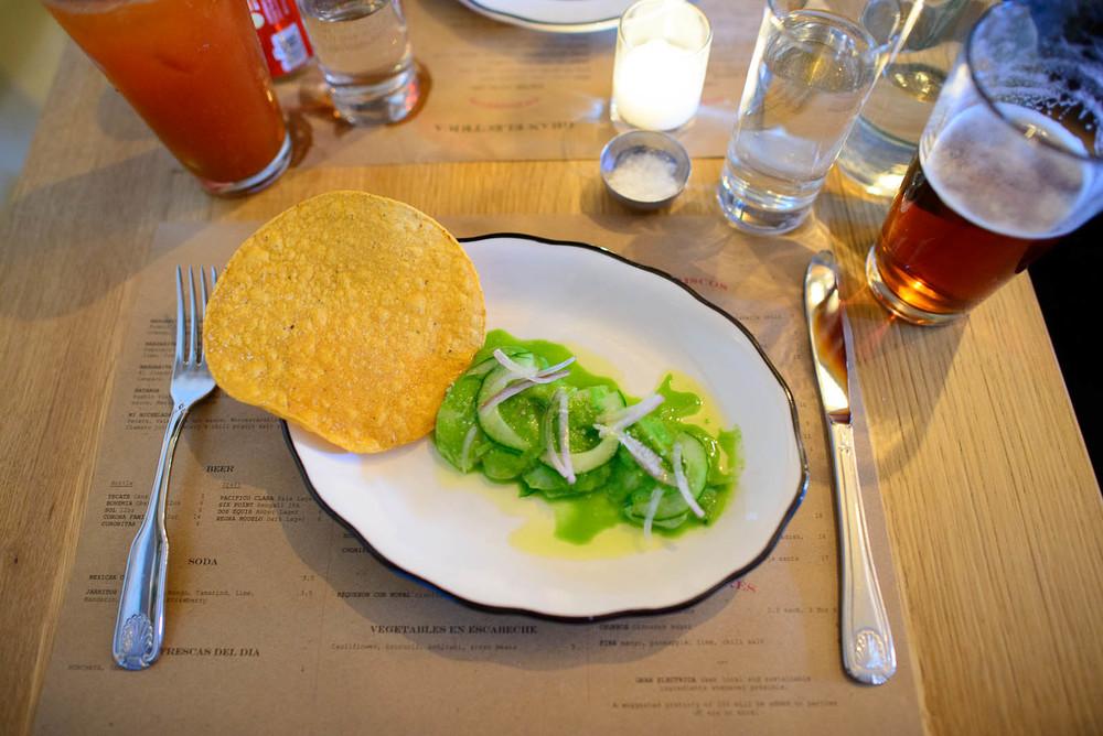 Aguachile - scallops, jalapeño, cilantro, cucumber