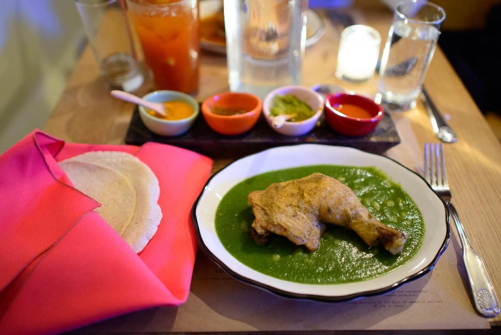 Mole verde - chicken, tomatillo sauce, epazote, hoja santa