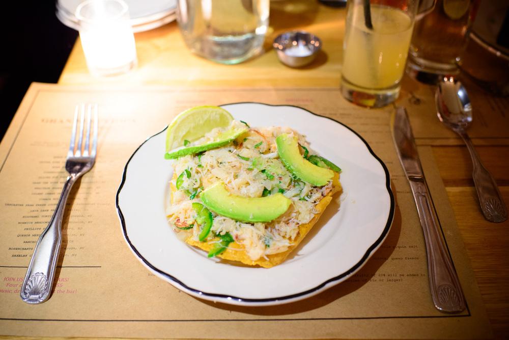 Tostada de Jaiba - peekytoe crab, lime, avocado, jalapeño