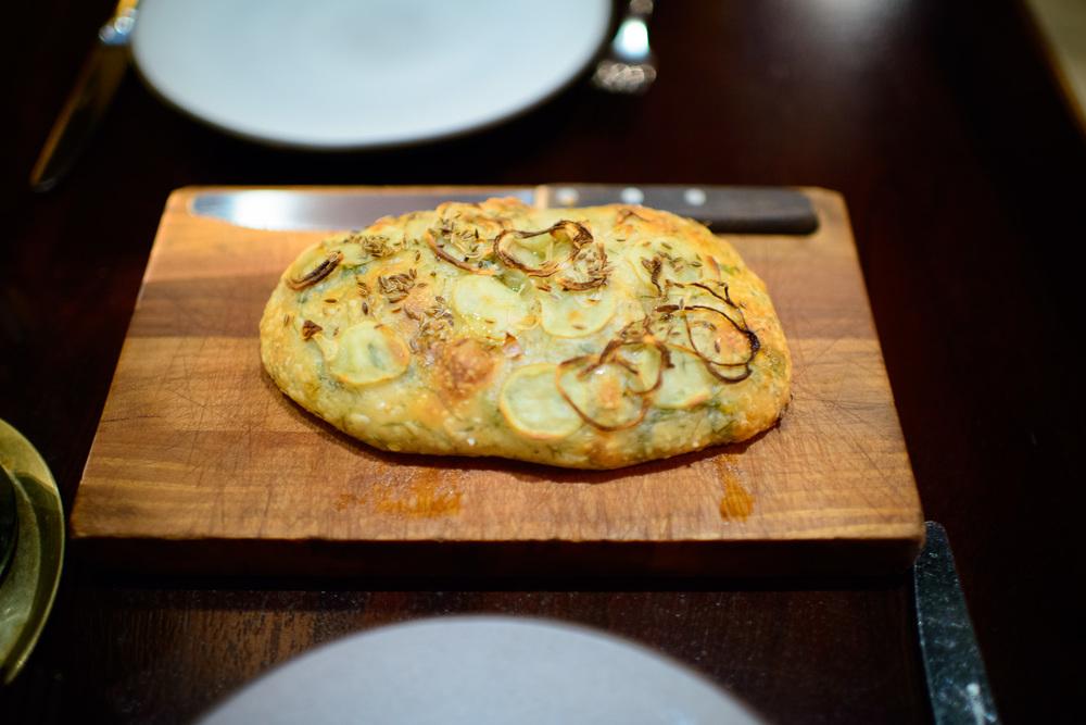 House bread, zucchini medallions