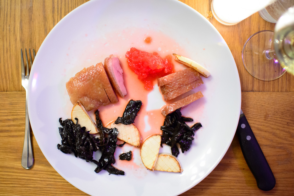 Duck breast - blood orange, black trumpet, hearts of palm ($26)