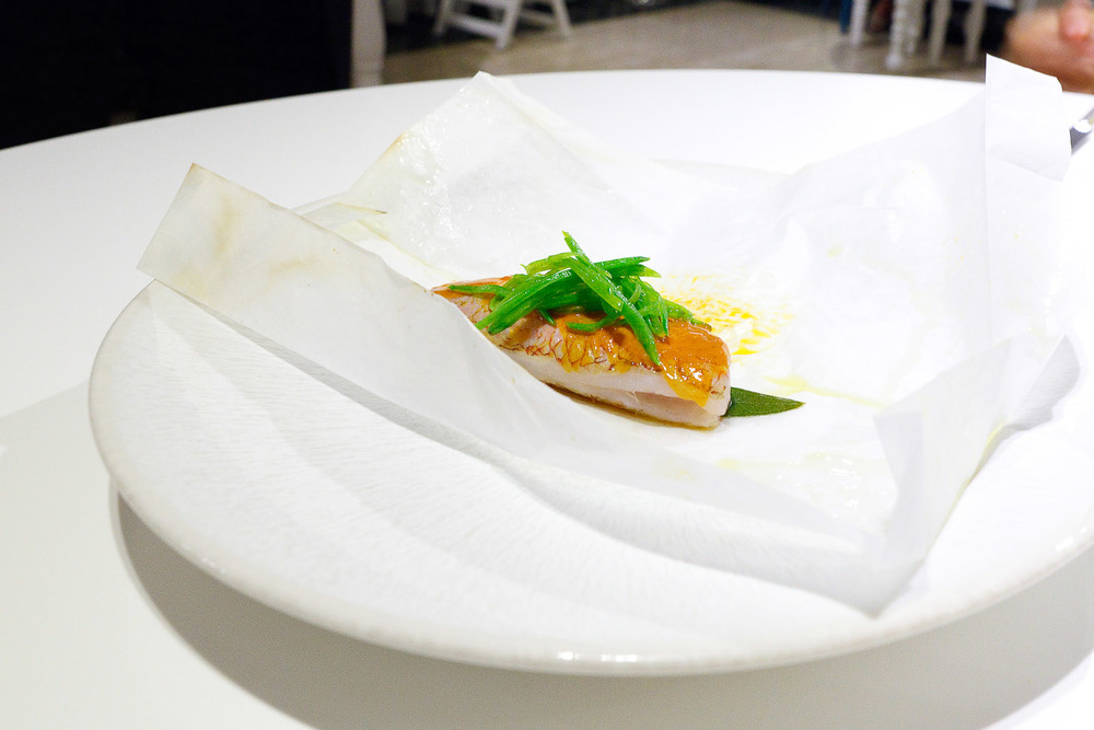 9th Course_ Red snapper en papillote painted with sea urchin sauce.jpg