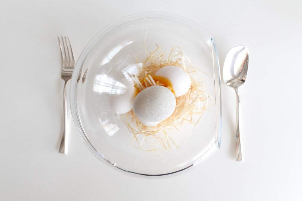 "18th Course: ""Which came first?"" - ""Egg"" made from cream of white asparagus filled with egg yolk and chicken stock."