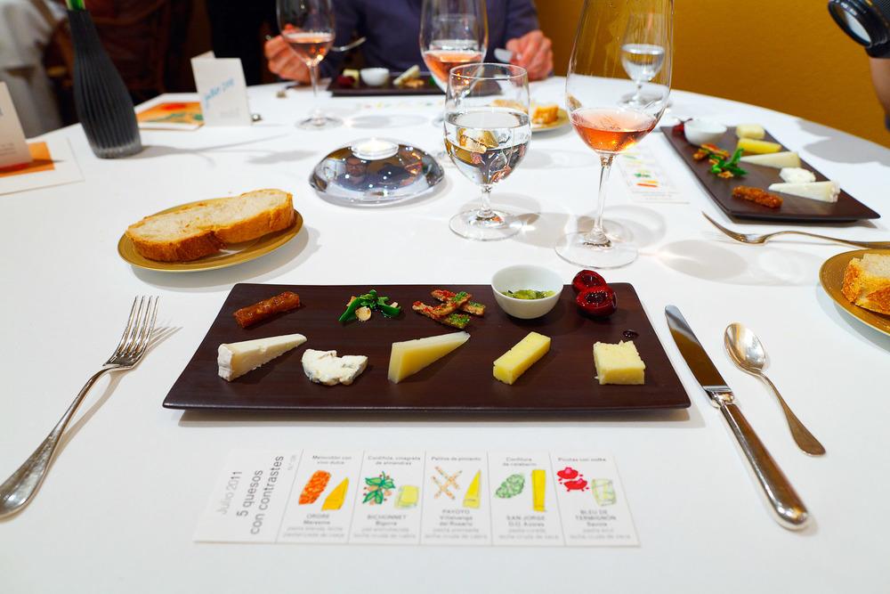 Cheese course: Ordre, peach with sweet wine - Bichonnet, cordifole, almonds, vinaigrette - Payoyo, pepper bread sticks - San Jorge, courgette preserve - bleu de termignon,bigarreau cherries with vodka