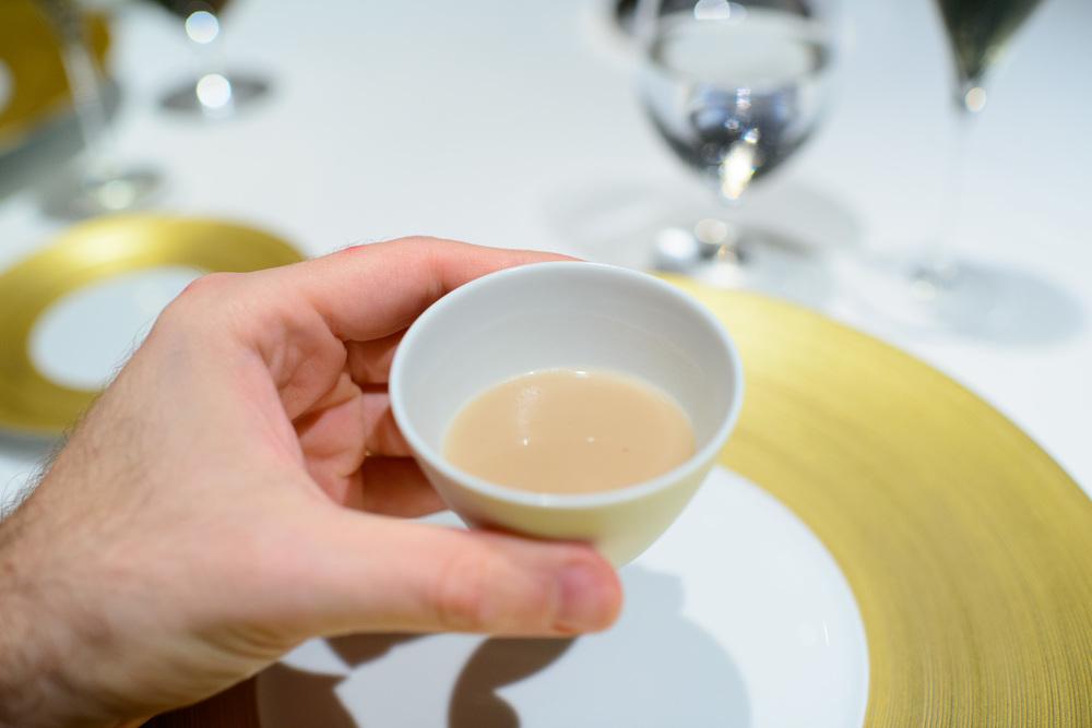 """1st Course: """"El caldo de inicio"""" - chestnut soup"""
