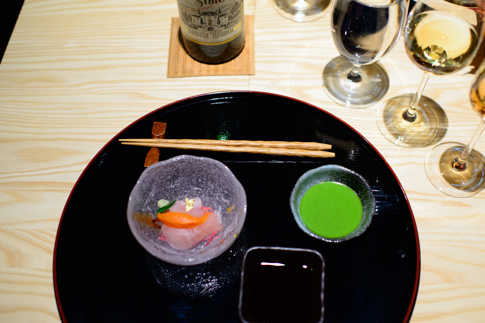 4th Course: Sashimi, shiso, tamari (paired with chateau simone p