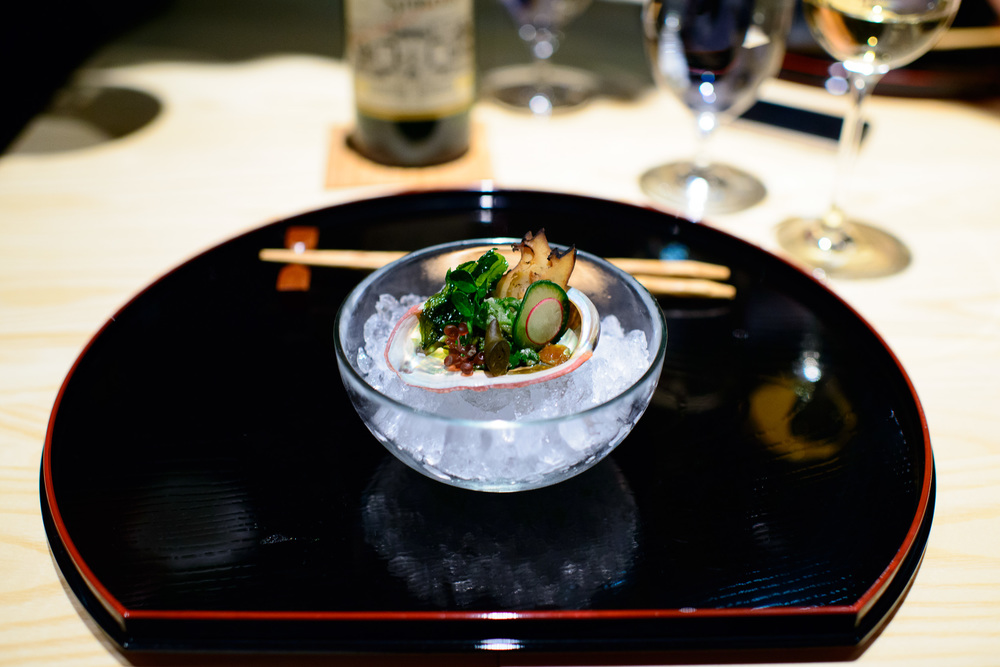 5th Course: Abalone, cucumber, red sea grapes