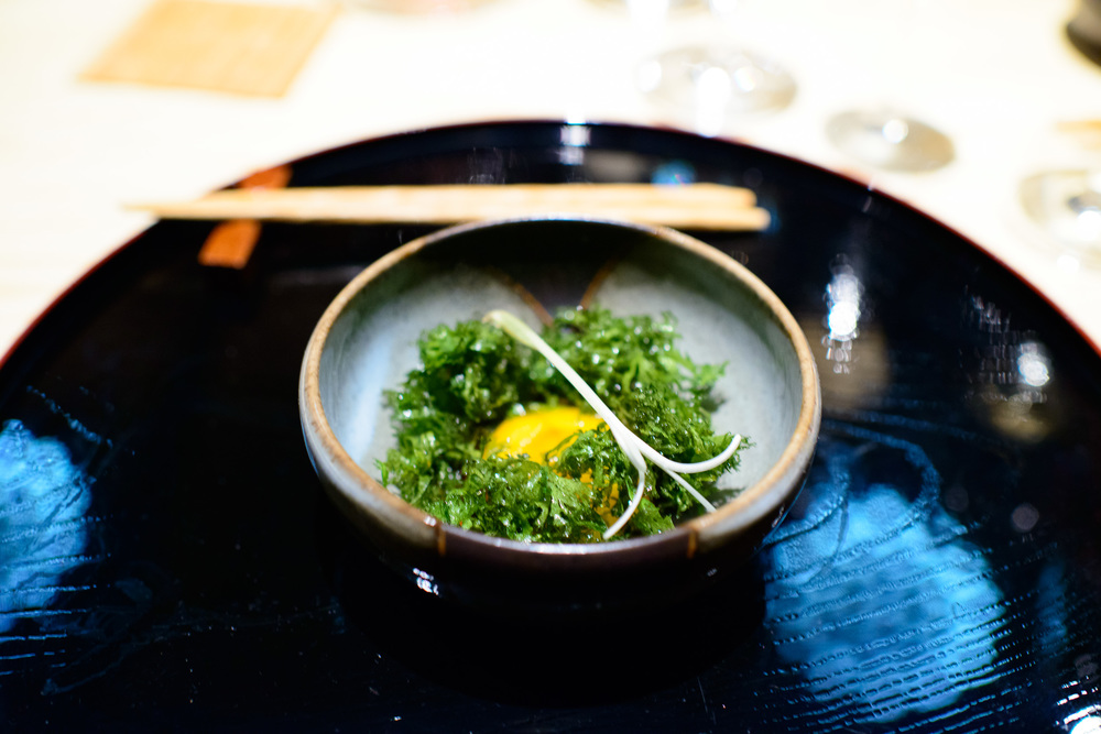 9th Course: Ayu, wasabi leaf, cured yolk (paired with catherine
