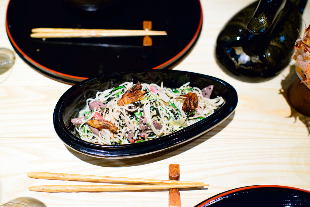 10th Course: Duck, soba, sake caramel, dulse (ichinokura taruzak