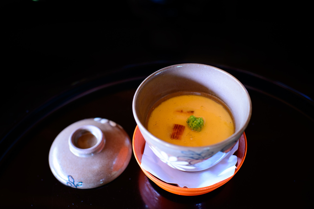 6th Course: Chawanmushi - steamed egg custard with soft-shelled