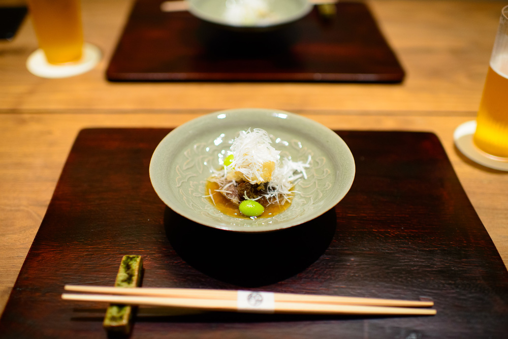 2nd Course: Deep-fried hamo (boney winter eel), ginkgo nuts, shi
